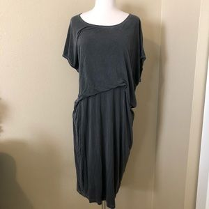 Tina + Jo Anthropology Tuck Front Gray Dress Sz XS